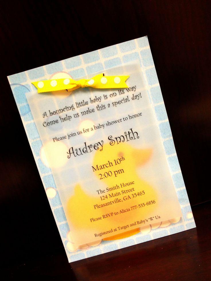boy baby shower invitations australia%0A Handmade Rubber Ducky Baby Shower or Birthday Invitations          via Etsy