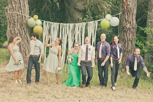 Shelley & Erik's crafty DIY and bluegrass wedding | Offbeat Bride ( gender-blind wedding party! )