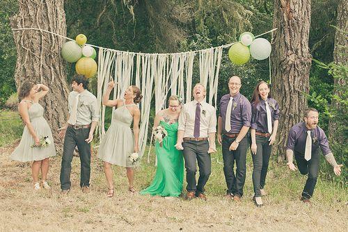 Cute backdrop -- Shelley & Erik's crafty DIY and bluegrass wedding | Offbeat Bride
