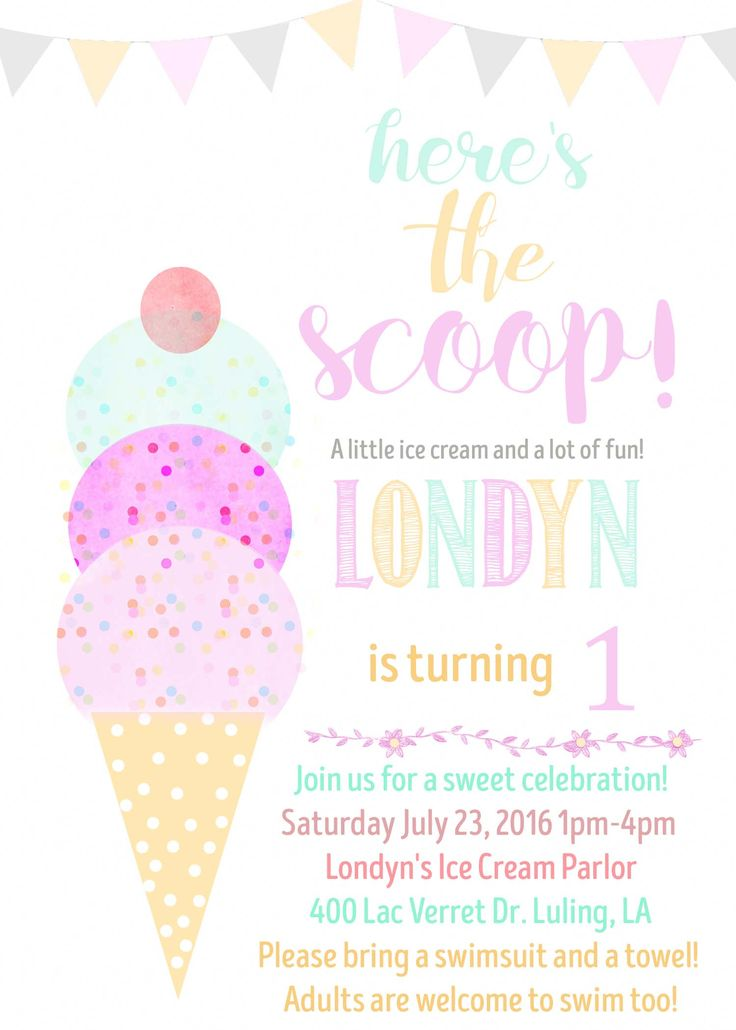 Best 25 Ice cream invitation ideas – Girls Birthday Party Invite