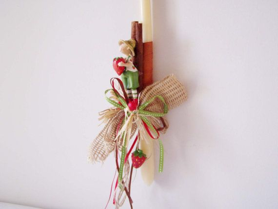 Greek Easter candle of boy and strawberries by ArktosCollectibles, $31.35