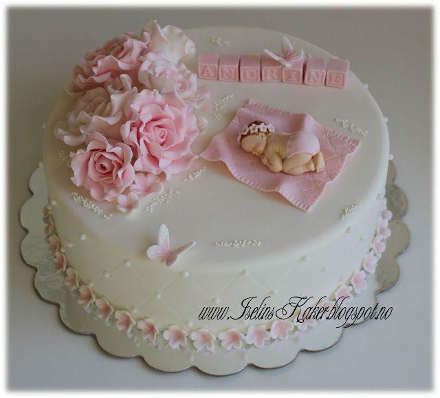 Iselins Kaker: Dåpskake i rosa og hvitt