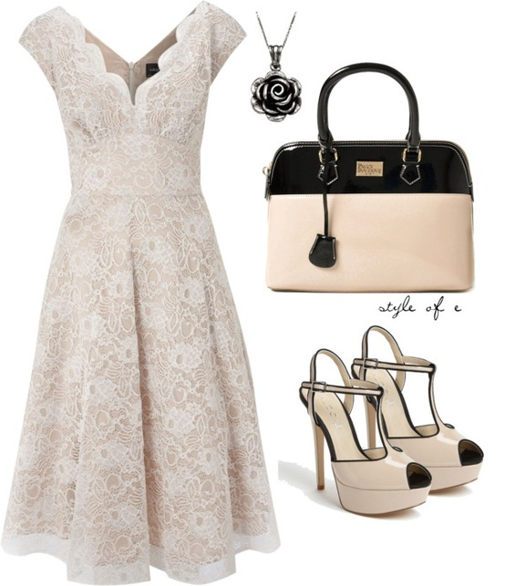 Sweet white dress with a touch of black.