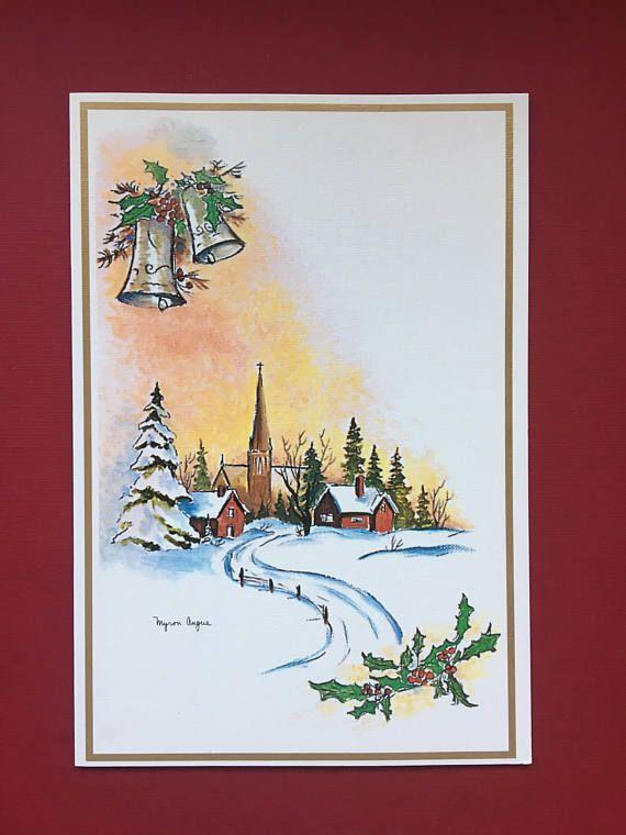 Vintage Christmas Village Greeting Card Christmas