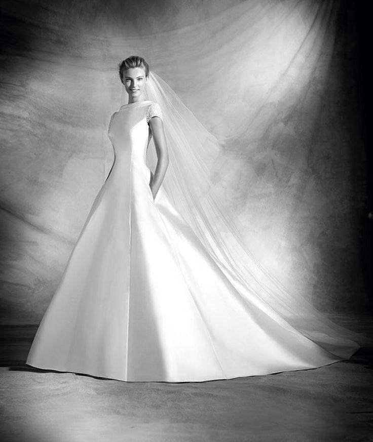 Vivien, robe de mariée, décolleté bateau, style classique, à partir de 2090€