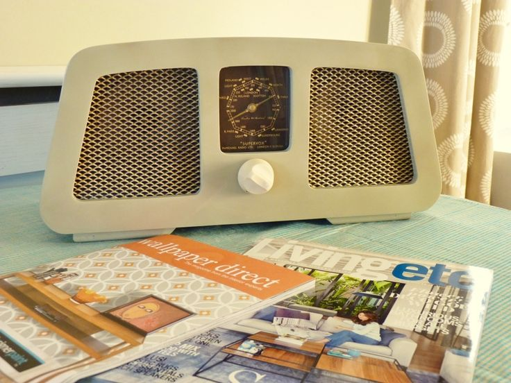 Perfect breakfast radio. 1949 coffee-coloured Supervox. Twin speakers.   Modified mp3/iPod/Personal DAB amplifier only (FM tuner can be fitted as an optional extra.) £100 or £120 including tuner,