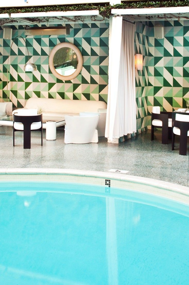 An hourglass pool ringed by cabanas is the centerpiece of the Avalon complex. Avalon Hotel Beverly Hills (Beverly Hills, California) - Jetsetter