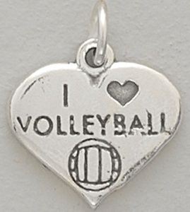 volleyball gifts and favors   Sterling silver I Love Volleyball charm.