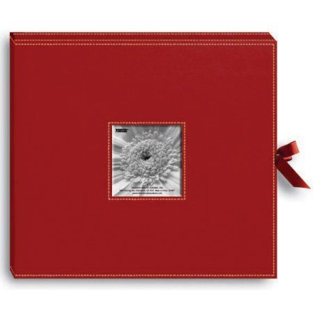 Pioneer Sewn Leatherette D-Ring Scrapbook Box, Red