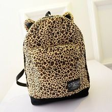 2015 New Women Canvas Backpack Cartoon Leopard Ear Backpack Shoulder Bag Printing Backpack Casual Schoolbag Travel Bags(China (Mainland))