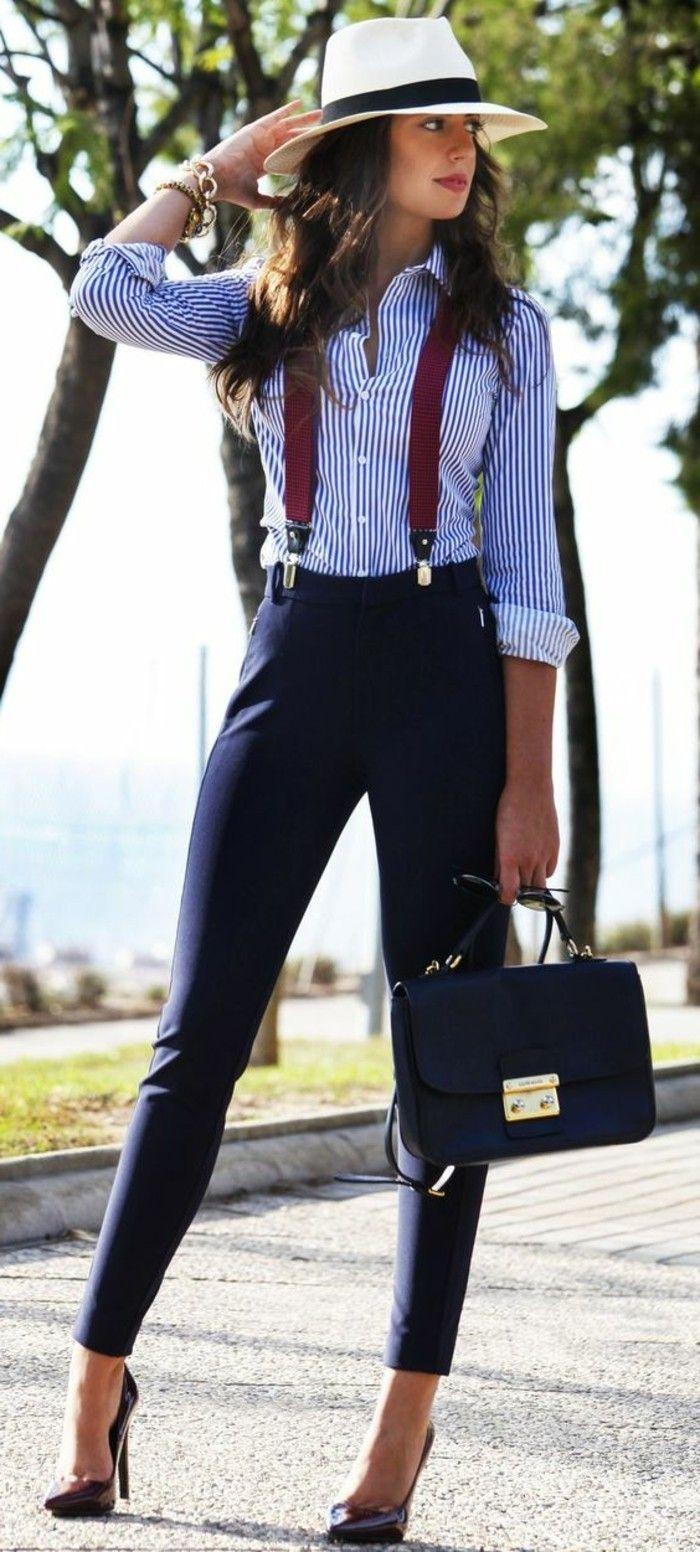 business kleider gestreiftes hemd elegante blaue hose braue tasche weinrote schuhe weises hut