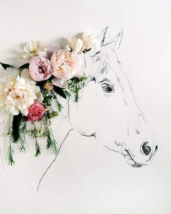 Flora + Fauna by Kari Herer. Poderia ser o cavalo estampado e flores de tecido bordadas