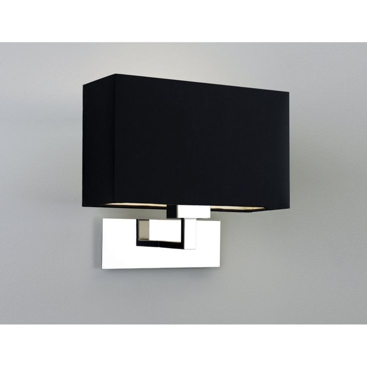 Astro 0516 Park Lane Wall Light Polished Nickel with Black Shade