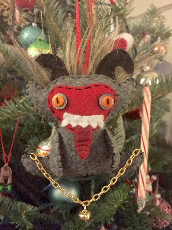 Wicca Christmas.Felt Krampus Doll Ornament Merry Yule Gruss Vom Krampus