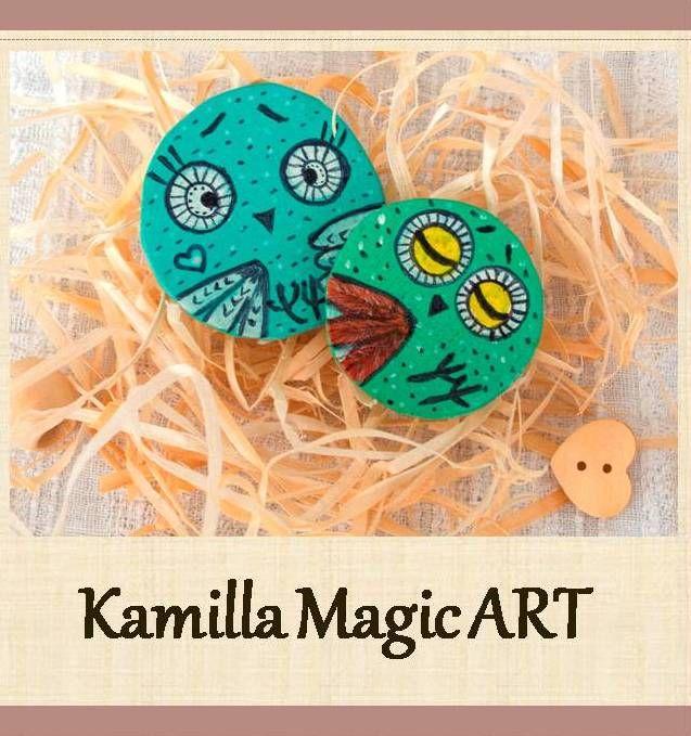 Hand painted artisan wood owl Brooch illustrated jewelry cute animal design woodland creature bird wood pin eco friendly vegan gift ideas