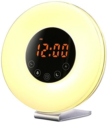 Sunrise Wake up Light Digital Alarm Clock Radio with sunrise and sunset simulation for bedroom bedside and kids FM Radio 7 Colors 6 Natural Sounds 10 Brightness Levels and Touch Control white