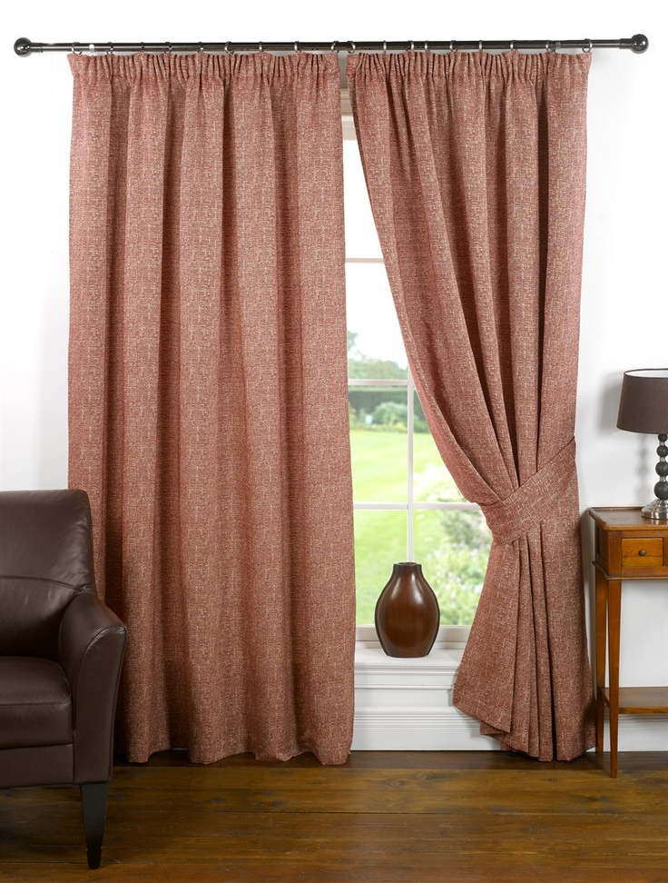 Mosaic Pencil Pleat Curtains in Wine