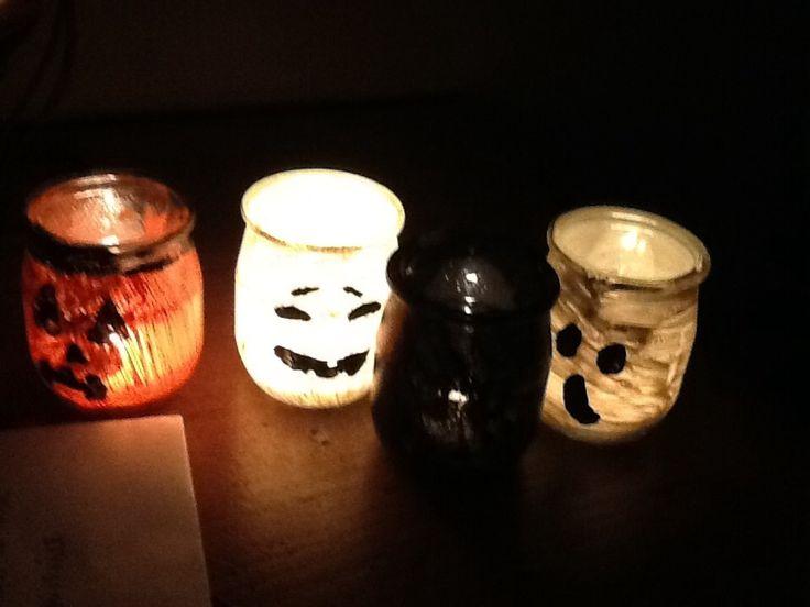 photophore halloween avec pots de bébé