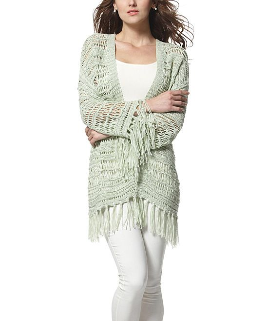 Green Fringe Open Cardigan | zulily