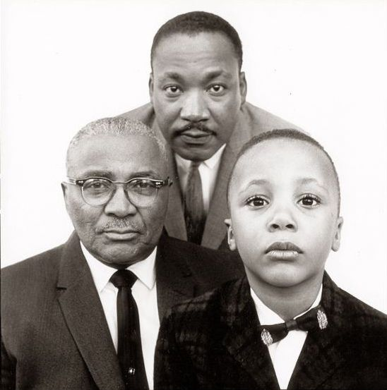 Martin Luther King, Jr. with his father and son, Atlanta, GA, 1963, by Richard Avedon