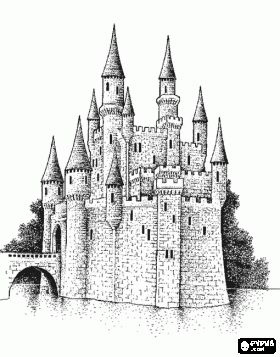 Drawn Castles Beautiful Castle Surrounded By Water With