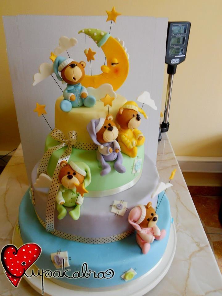 Kūdikio sutiktuvių tortas mėnulio ir žvaigždučių tema.