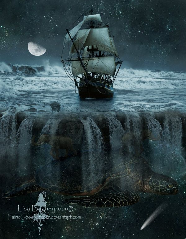 To the End of the Earth. photo manipulation inspired by Terry Pratchett's Discworld. by FairieGoodmother on deviantart
