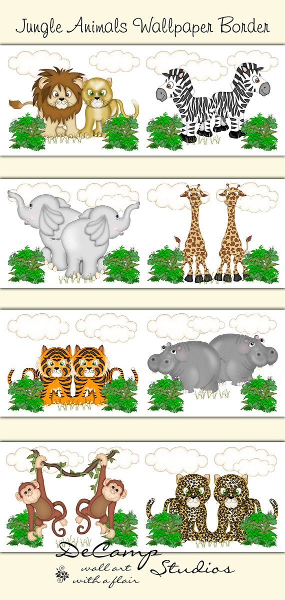 Jungle Animals wallpaper border wall decals for baby girl or boy nursery and children's bedroom decor #decampstudios