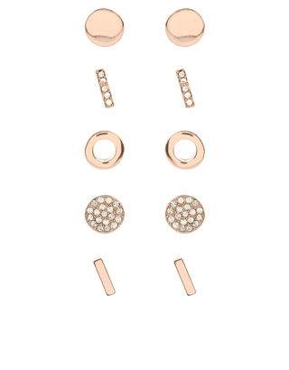 Made from rose gold-tone metal, our simple five-pair pack of stud earrings feature circle and bar designs with embellished and high-gloss finishes. Non-refun...