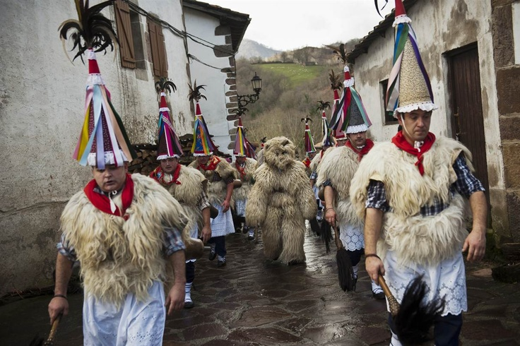Joaldunak, march as they take part on the carnival of the Basque village of Zubieta, Spain, on Jan. 28. In one of the most ancient carnivals in Europe.