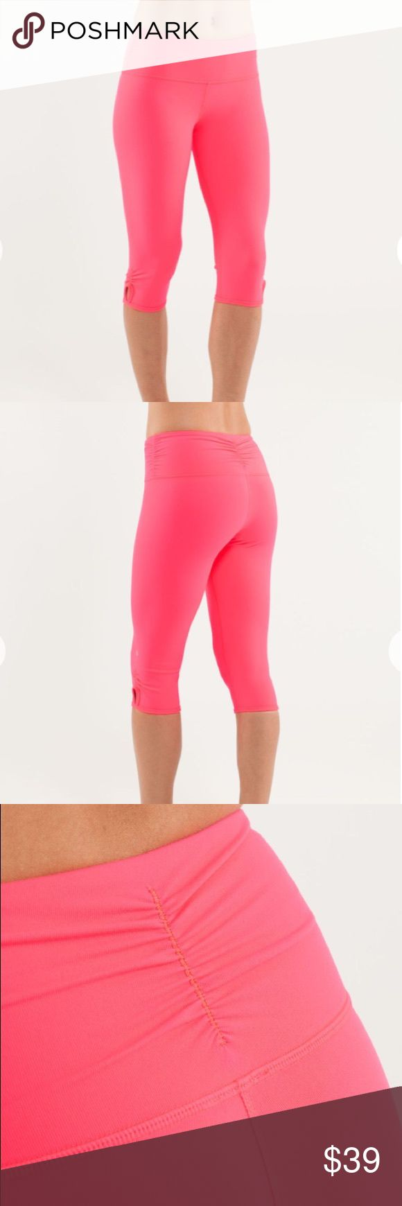 Lululemon Crops Dhanurasana Crop in Flash. Hidden waistband pocket. Shows minor signs of wear but no major pilling and no snags. No cracking on logo. Light purple mark near crotch but not very noticeable (see last pic). First three photos are stock pics. lululemon athletica Pants Leggings