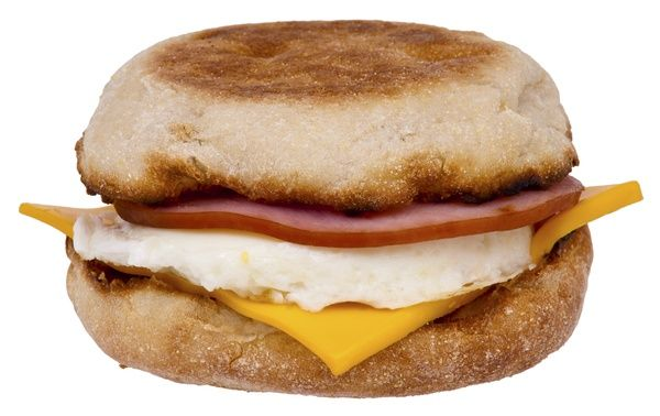 2 tbsp Jimmy dean turkey sausage crumbles OR 1 slice Canadian bacon, 1 carbquik biscuit or Thomas light 100 calorie English muffin, 1 slice fat free cheese, 1/2 cup cooked egg whites