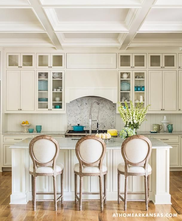 Ivory Kitchen Features Ivory Shaker Cabinets Paired With Marble Countertops  And A Vertical Ivory Beadboard Backsplash Part 47