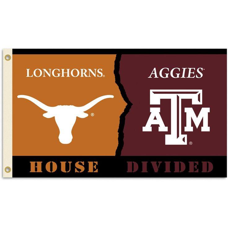 Texas Longhorns-Texas A&M Aggies House Divided Flag