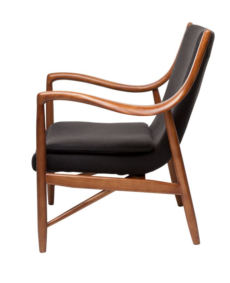Replica Finn Juhl 45 Chair -- The Finn Juhl 45 chair was a radical design which differed from the simple organic lines of Danish 1940's lounge chairs.    While the popularity of Finn Juhl did not match his peers, in later periods his more abstract designs continued to flourish long after the more simple designs of his peers had disappeared,  This elegant lounge chair is perfect for the study, lounge room or nursery.   The comfortable seat and graceful lines ensure this designer piece will…