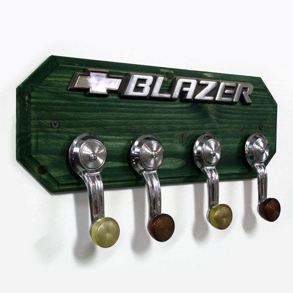 Chevrolet Blazer Coat Rack - Chevy Hat Rack with 4 Chrome Car Handle Hooks - Green Hangers
