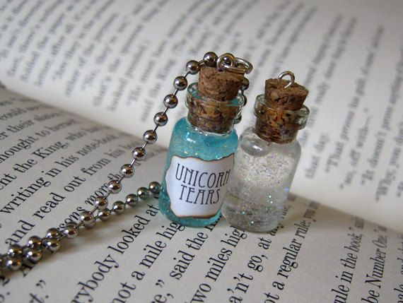 Unicorn Tears 1ml Glass Vial Bottle Pendant Necklace Charm - Glitter Cute  Magic