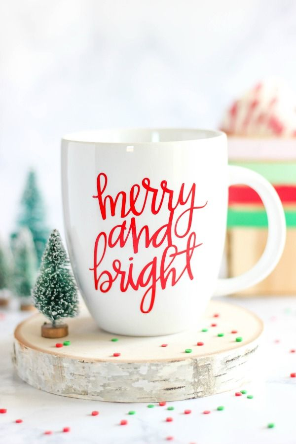 Enjoy the holiday season with a DIY Merry and Bright Vinyl Mug. It's perfect for sipping a cup of coffee or hot chocolate on a cold winter day. It makes a great gift idea too!