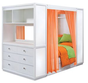 Love this idea...possibly for kids sharing bedrooms, and when they want some of their own space.