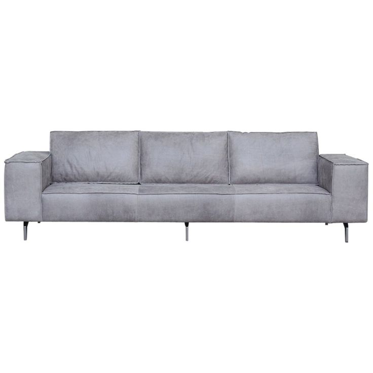 Solid 3 seater, chrome legs, grey leather - 81x98x2.80cm 2.340 euro