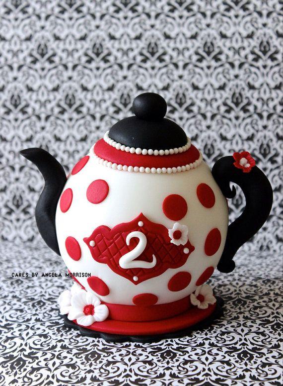 Fondant teapot cake topper by CakesbyAngela on Etsy ...