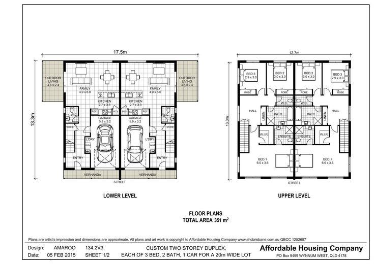 134 2v3 Amaroo Duplex Floor Plan By Ahc Brisbane Home