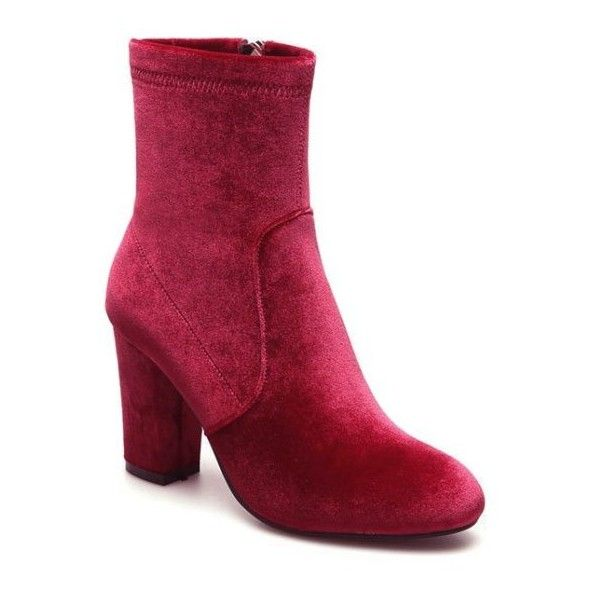 Chunky Heel Velvet Sock Boots ($53) ❤ liked on Polyvore featuring shoes, boots, chunky heel boots, thick heel boots, velvet shoes, wide heel shoes and velvet boots