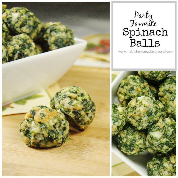 The Kitchen is My Playground: Spinach Balls using Herbed Stuffing Mix (Pepperidge Farms has a good stuffing mix that is cut into small enough pieces that are around the correct size/shape desired)   ** (Or if you must, use flavored breadcrumbs, if no stuffing mix is available) **