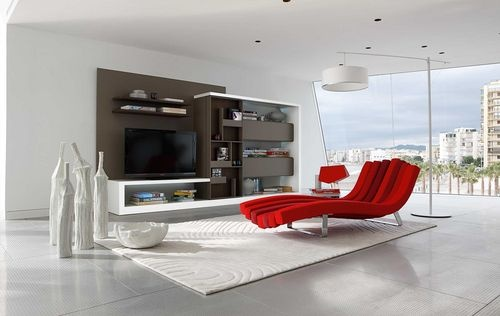 Contemporary lacquered wood TV wall unit