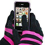 Evelots Ladies Smartphone Gloves Form Fitting & Warm, 2 Pair Pink & Black S/M