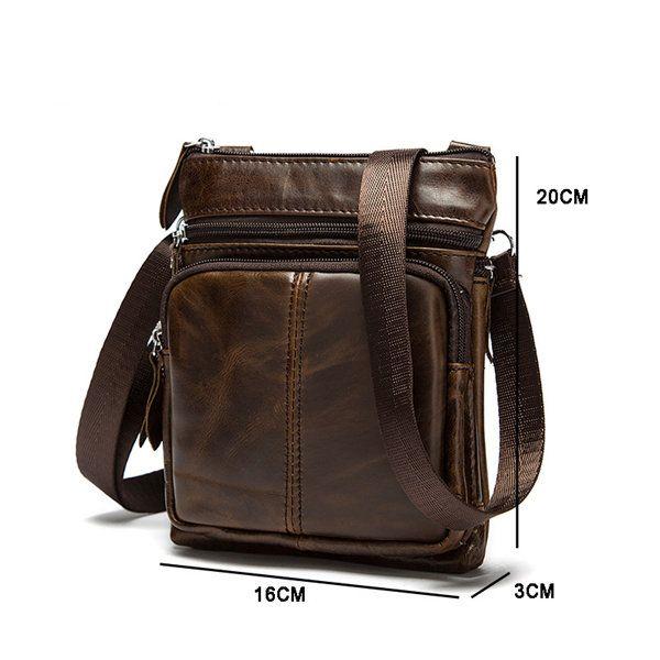 Men Genuine Leather Crossbody Bag Cowhide Leather Business Vintage Shoulder Bags