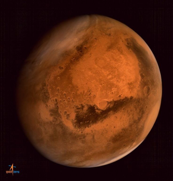 Mars Orbiter Mission captured this global view of Mars with its Mars Colour Camera on 9/28/14, from a distance of 74,500. ISRO