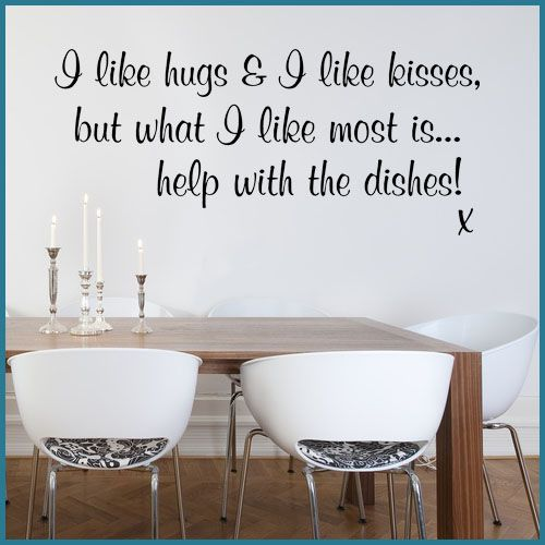 Kitchen Wall Art Decals   Like Hugs & I Like Kisses Funny Kitchen ~ Wall sticker / decals