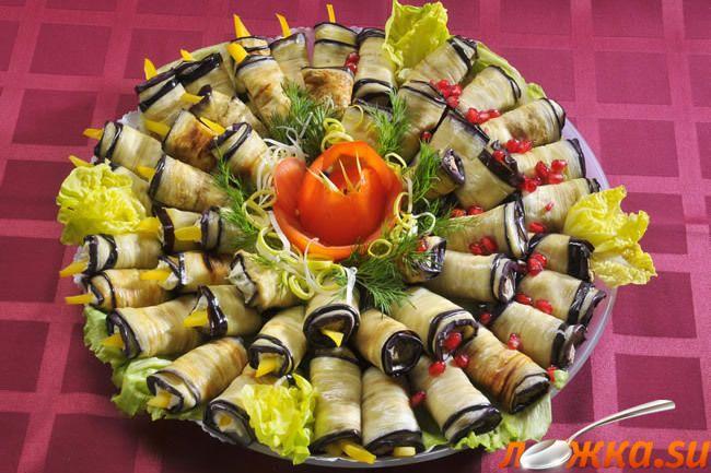 Холодные блюда баклажаны с сыром